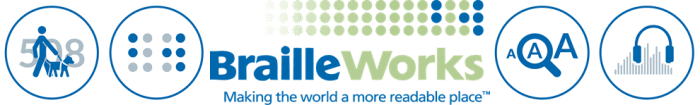 Braille Works logo. Link opens contact Braille Works