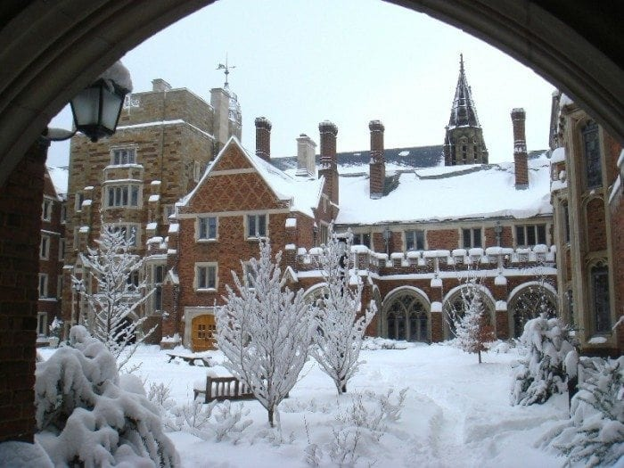 Yale University campus buildings covered with snow
