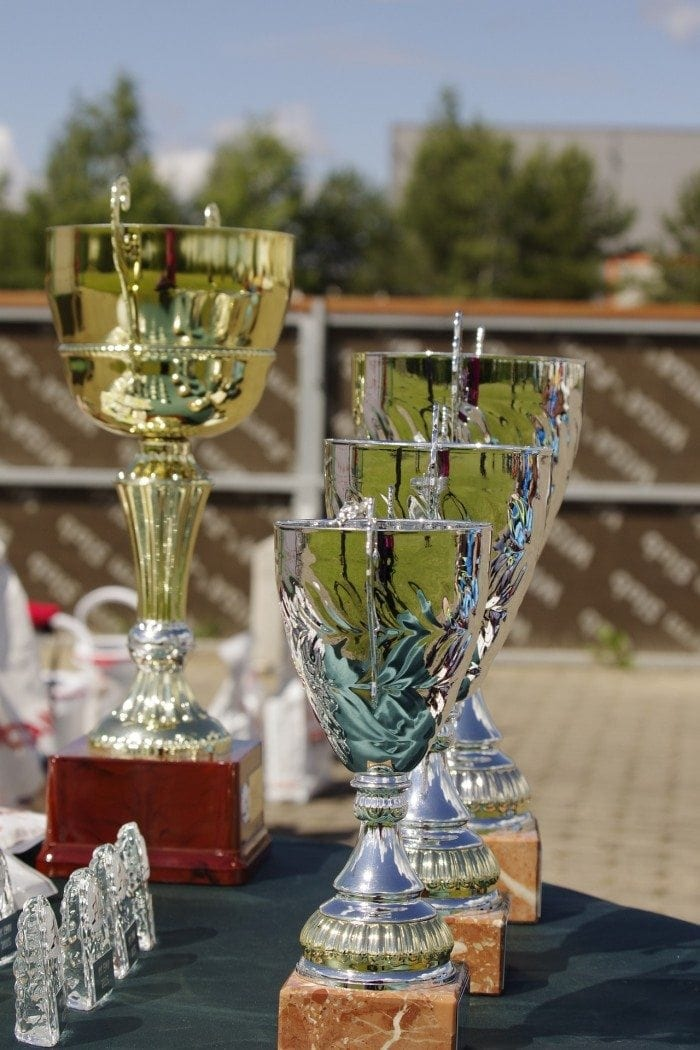Several trophies on a tabletop with trees in the background