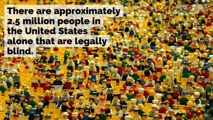 """A large collection of Lego people, with the words """"There are approximately 2.5 million people in the United States alone that are legally blind."""