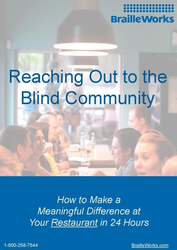 Screenshot showing Reaching Out to the Blind Community cover page. Link opens in new window.