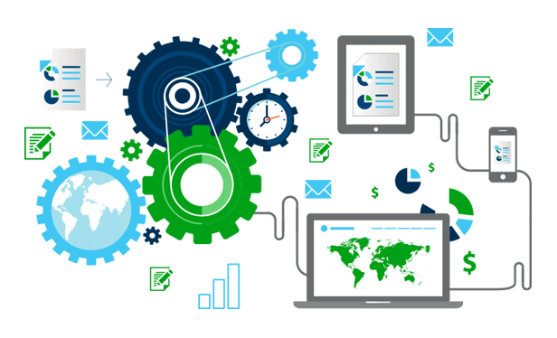 Automation diagram with mobile devices, laptops, gears, charts and other icons.