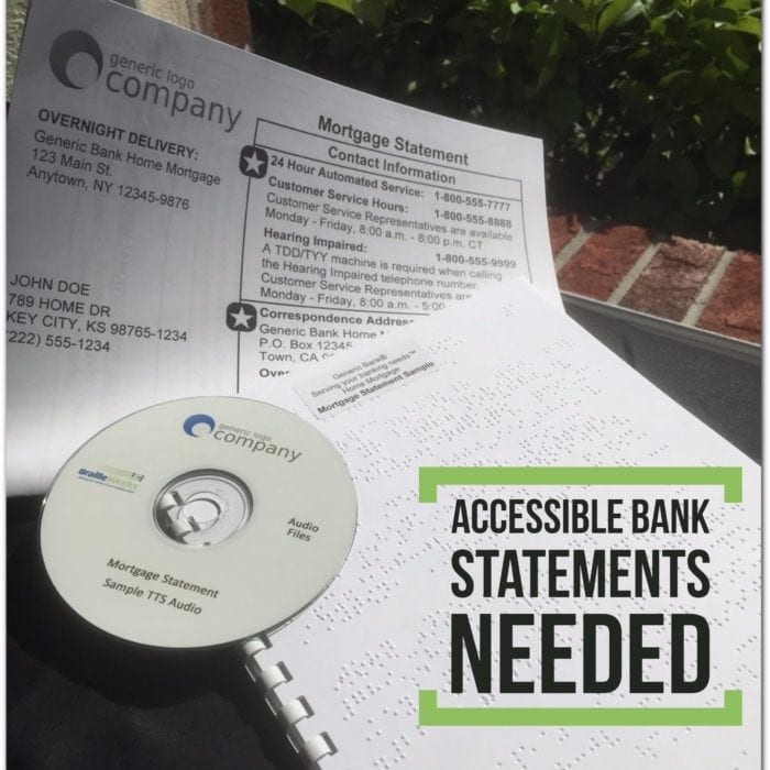 Braille, large print and audio bank statement samples