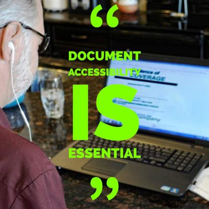 "Man listening to his screen reader through headphones with a text overlay reading ""Document accessibility is essential""."