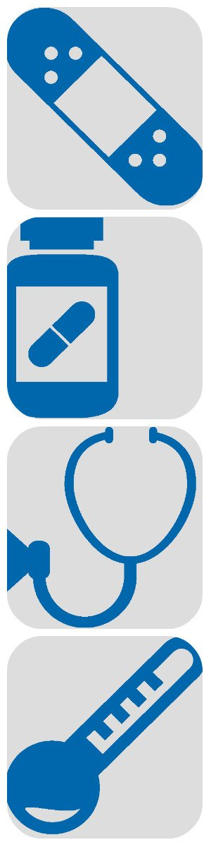 Collage with four healthcare related icon