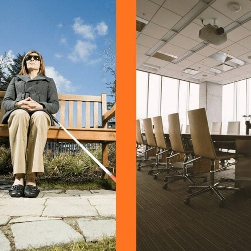Woman sitting on bench holding white cane and a business board room on the other side.