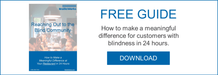 Free guide on how to make a meaningful difference for customers with blindness. Link opens PDF in a new window.
