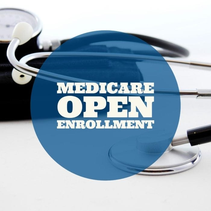 Medicare Open Enrollment text overlay with a stethoscope in the background.