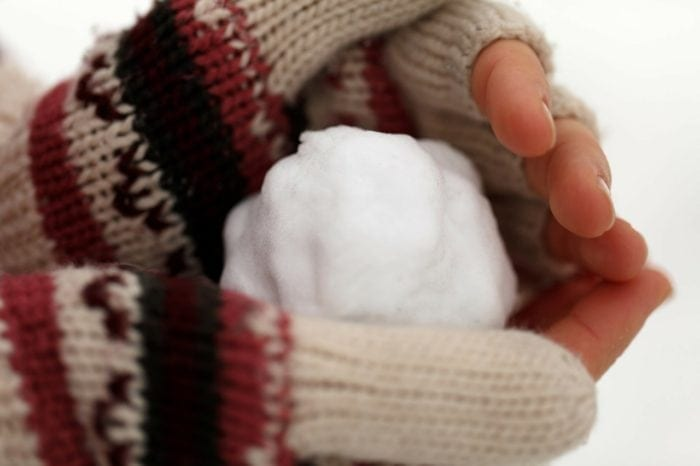 Small snowball being held in hands.