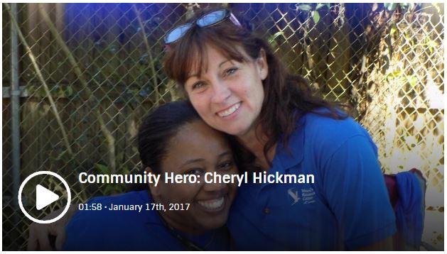 Community Hero Cheryl Hickman. Link opens community hero video in a new window.