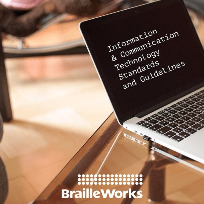 """Laptop displaying the words """"Information and Communication Technology Standards and Guidelines""""."""