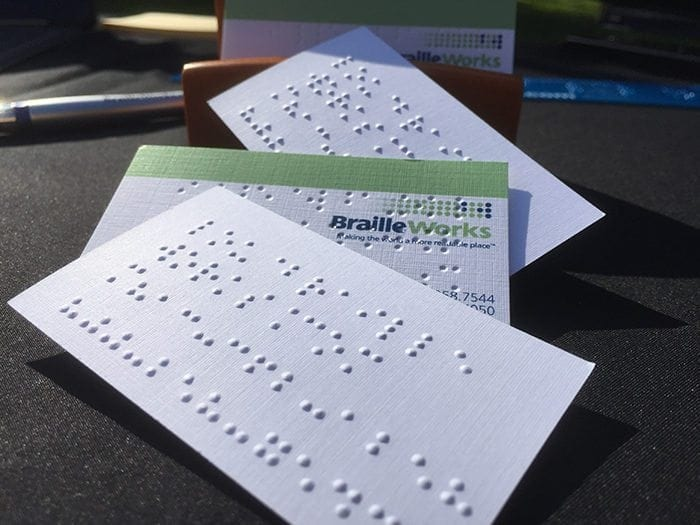 Beginners guide to business accessibility braille works stack of braille business cards colourmoves