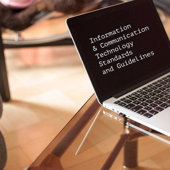 """Information and Communication Technology Standards and Guidelines"" displayed on a laptop screen."