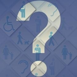 Giant question mark with disability related icons in the background.