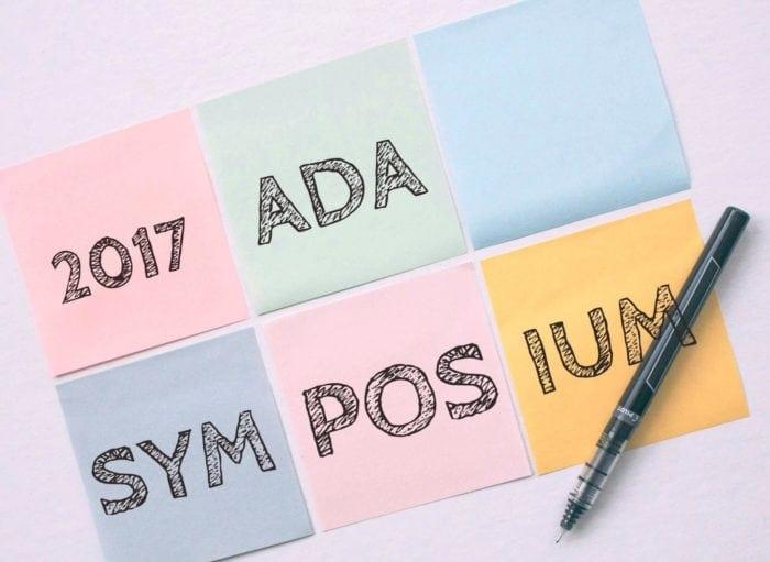 2017 ADA Symposium written on six post-it notes.