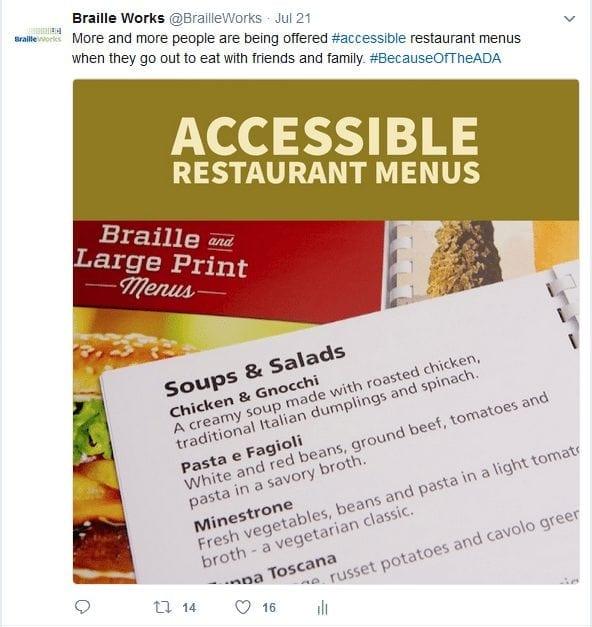 Braille and large print menus