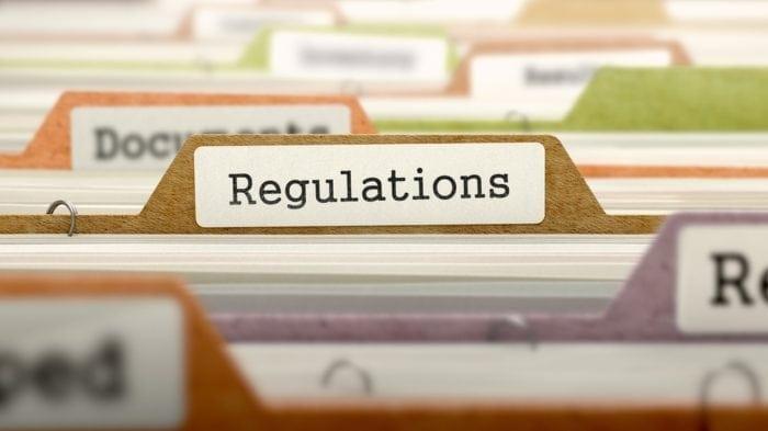 """file folder titled """"Regulations"""""""