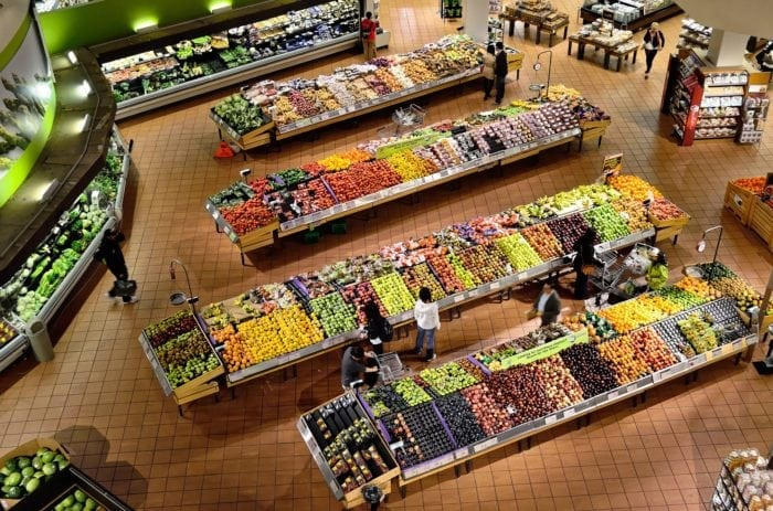 aerial view of a supermarket's produce section