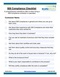 Preview of Section 508 Compliance Checklist