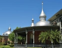 A portion of the University of Tampa with a clear, blue sky.