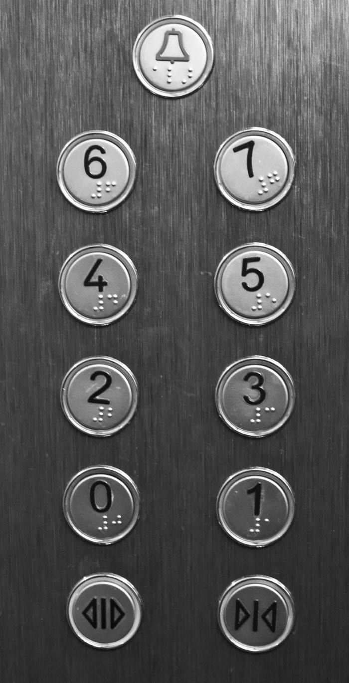 Elevator buttons for the alarm, open and close doors, and the floor selections with braille embossed on them