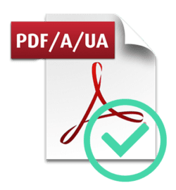 """Adobe Acrobat icon with """"PDF/A/UA"""" text and a circled check mark showing it's an accessible PDF"""