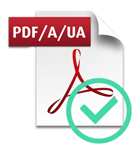 "Adobe Acrobat icon with ""PDF/A/UA"" text at the top and a circle check mark at the bottom"