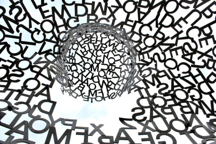 Jumbled, capital letters circled around each other representing dyslexia