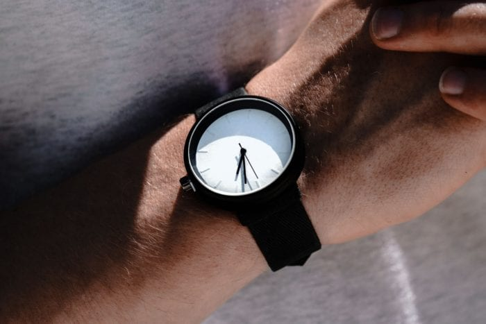 a wristwatch to represent time running out to be compliant