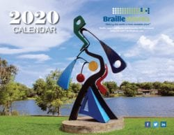2020 calendar cover with a sculpture by the water, braille works logo, tagline, phone number, website and social media icons