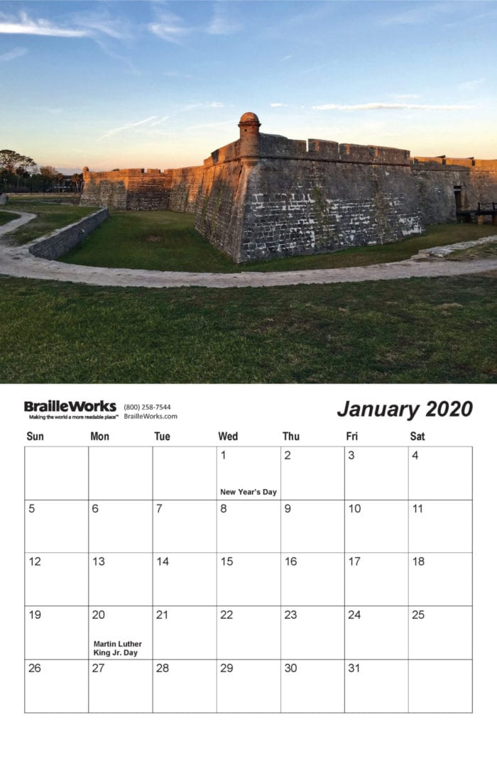 Inside of the 2020 calendar showing the picture and dates for January