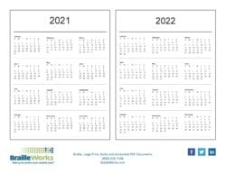 back cover with 2021 and 2022 dates, braille works logo, phone number, website and social media icons