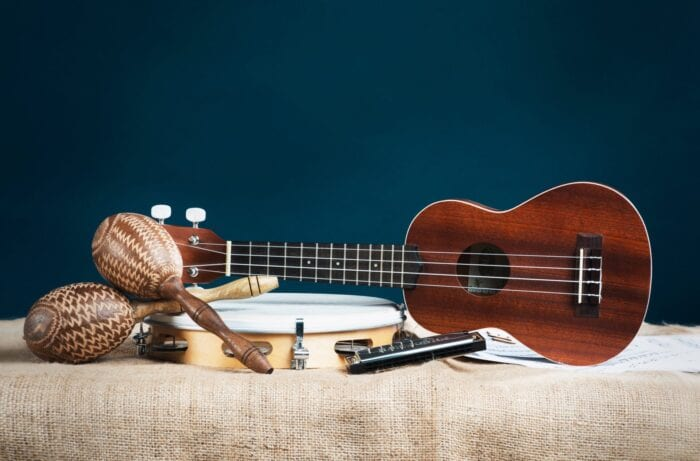 a guitar, harmonica, tambourine and rattle before they're made adaptive instruments